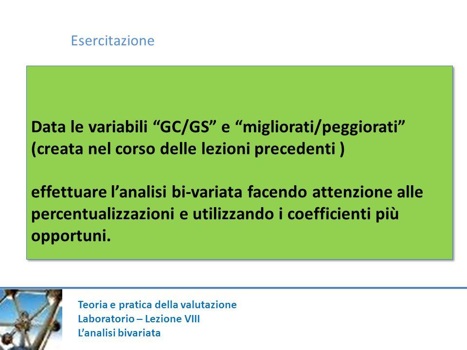 Esercitazione Data le variabili GC/GS e migliorati/peggiorati (creata nel corso delle lezioni precedenti )