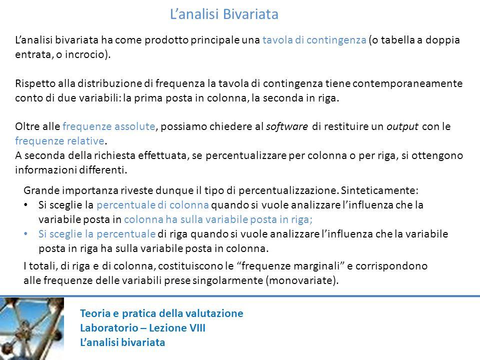 L'analisi Bivariata L'analisi bivariata ha come prodotto principale una tavola di contingenza (o tabella a doppia entrata, o incrocio).