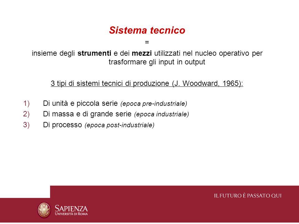 3 tipi di sistemi tecnici di produzione (J. Woodward, 1965):