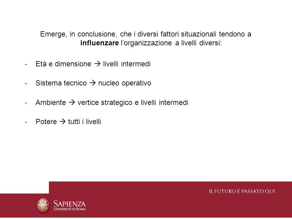 Emerge, in conclusione, che i diversi fattori situazionali tendono a influenzare l'organizzazione a livelli diversi: