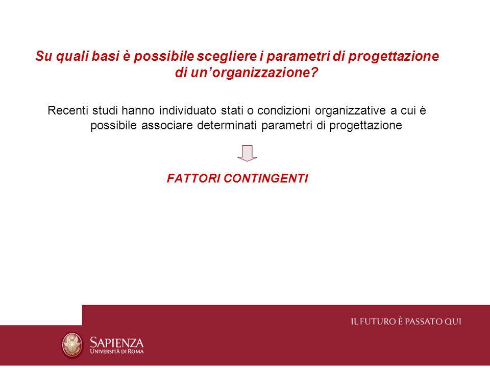 Su quali basi è possibile scegliere i parametri di progettazione di un'organizzazione