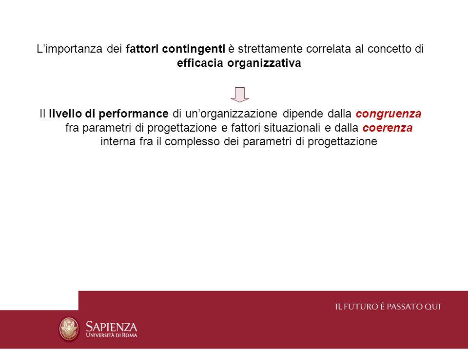 L'importanza dei fattori contingenti è strettamente correlata al concetto di efficacia organizzativa