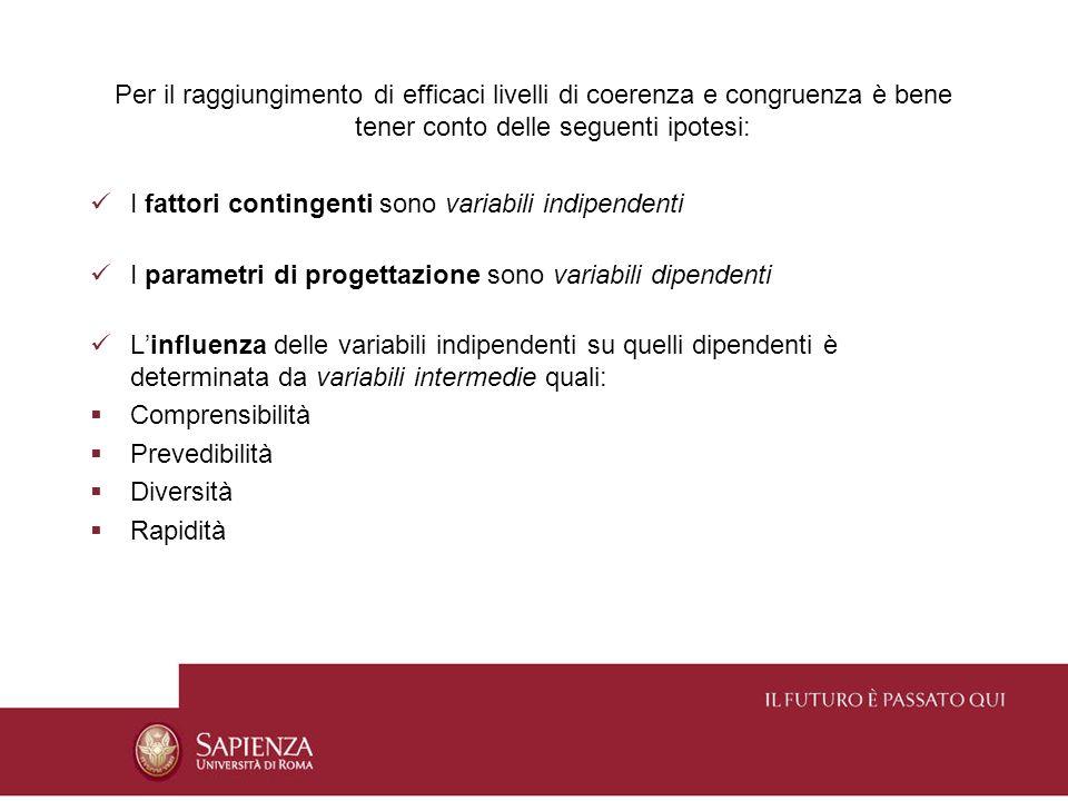 Per il raggiungimento di efficaci livelli di coerenza e congruenza è bene tener conto delle seguenti ipotesi: