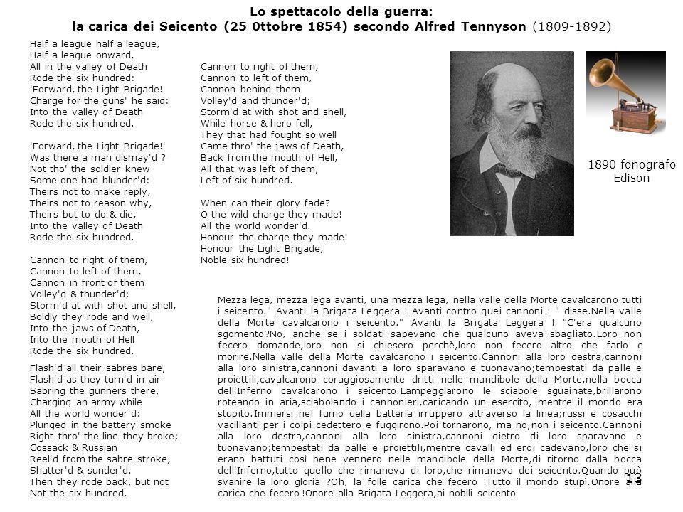 Lo spettacolo della guerra: la carica dei Seicento (25 0ttobre 1854) secondo Alfred Tennyson (1809-1892)