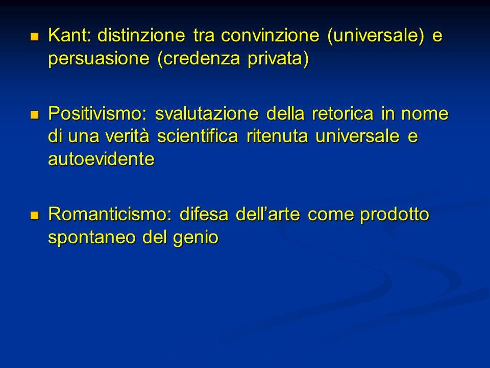 Kant: distinzione tra convinzione (universale) e persuasione (credenza privata)