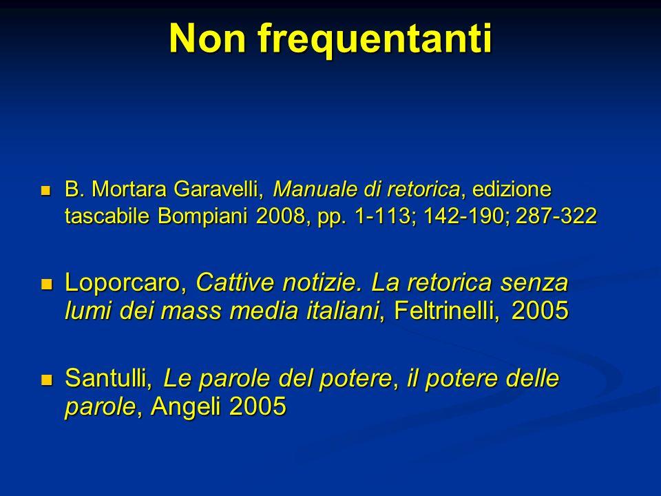 Non frequentanti B. Mortara Garavelli, Manuale di retorica, edizione tascabile Bompiani 2008, pp. 1-113; 142-190; 287-322.