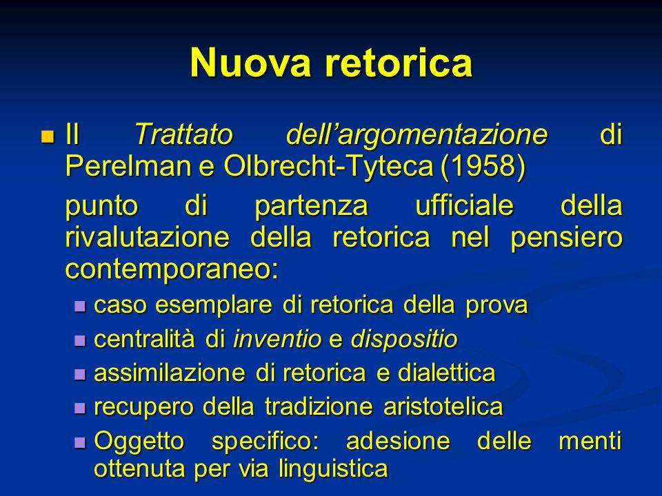 Nuova retorica Il Trattato dell'argomentazione di Perelman e Olbrecht-Tyteca (1958)