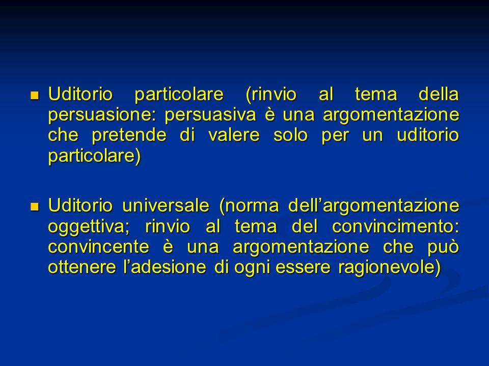Uditorio particolare (rinvio al tema della persuasione: persuasiva è una argomentazione che pretende di valere solo per un uditorio particolare)