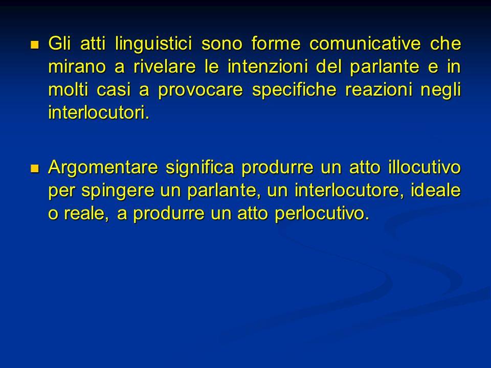 Gli atti linguistici sono forme comunicative che mirano a rivelare le intenzioni del parlante e in molti casi a provocare specifiche reazioni negli interlocutori.