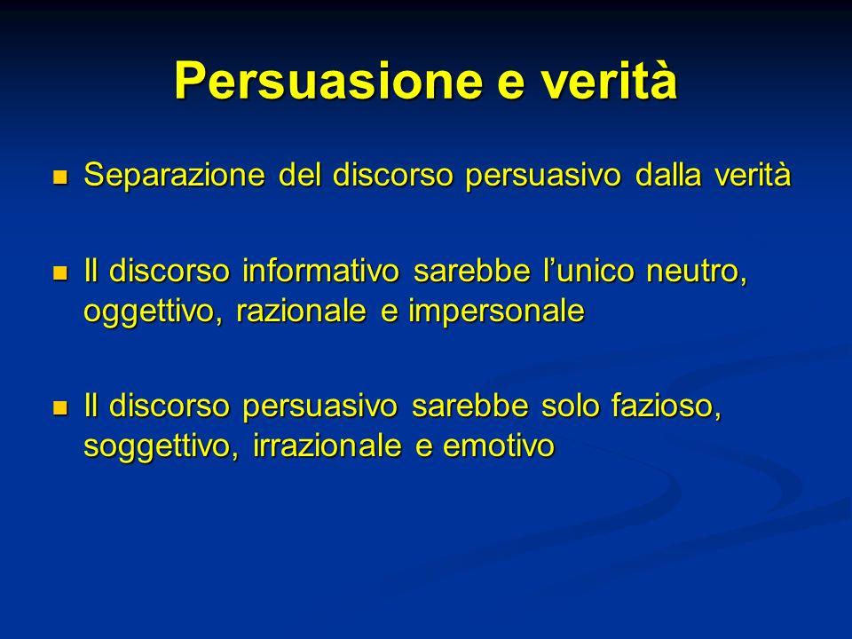 Persuasione e verità Separazione del discorso persuasivo dalla verità