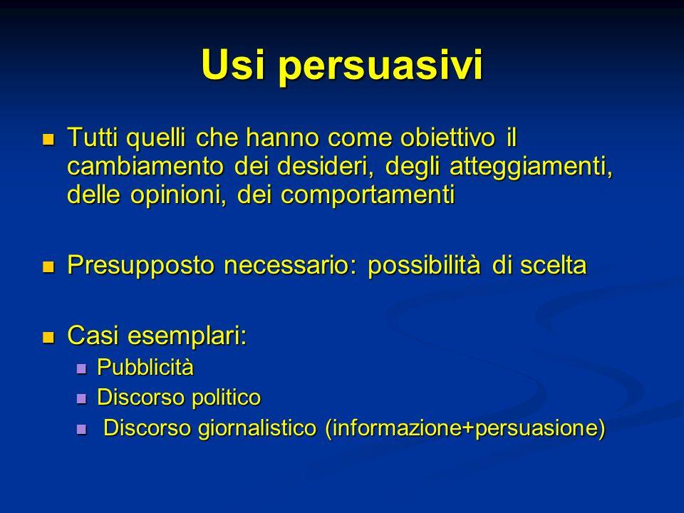 Usi persuasivi Tutti quelli che hanno come obiettivo il cambiamento dei desideri, degli atteggiamenti, delle opinioni, dei comportamenti.