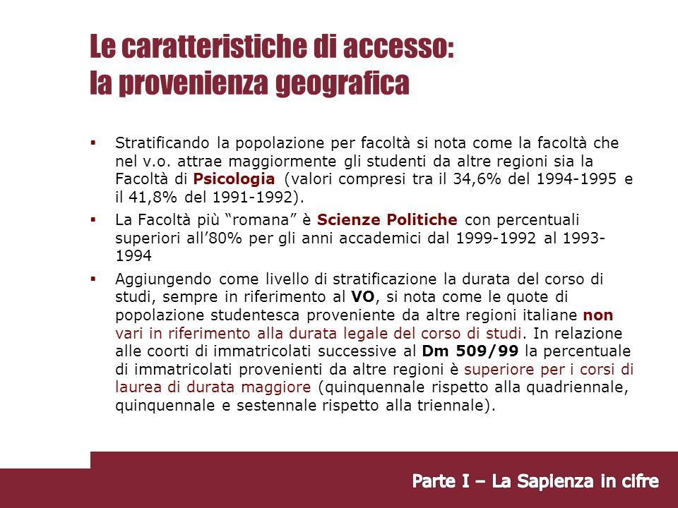 Le caratteristiche di accesso: la provenienza geografica