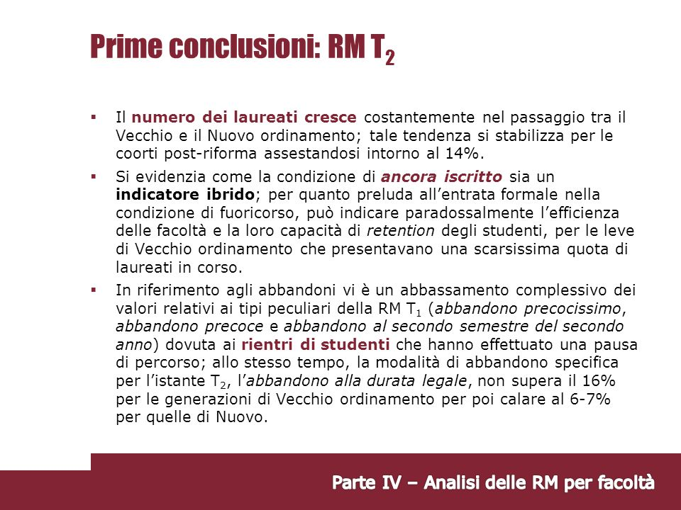 Prime conclusioni: RM T2