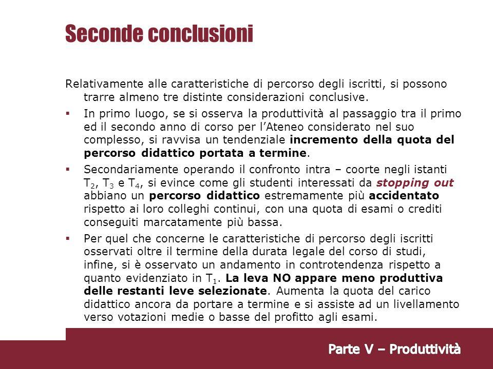 Seconde conclusioni Parte V – Produttività