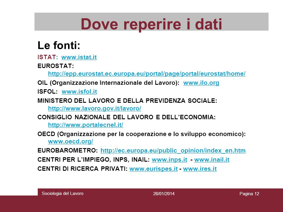Dove reperire i dati Le fonti: ISTAT: www.istat.it