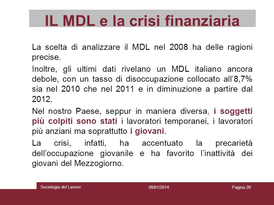 IL MDL e la crisi finanziaria