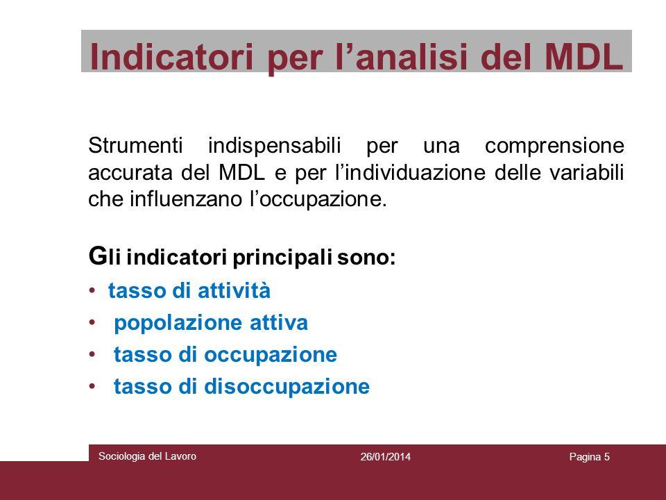 Indicatori per l'analisi del MDL
