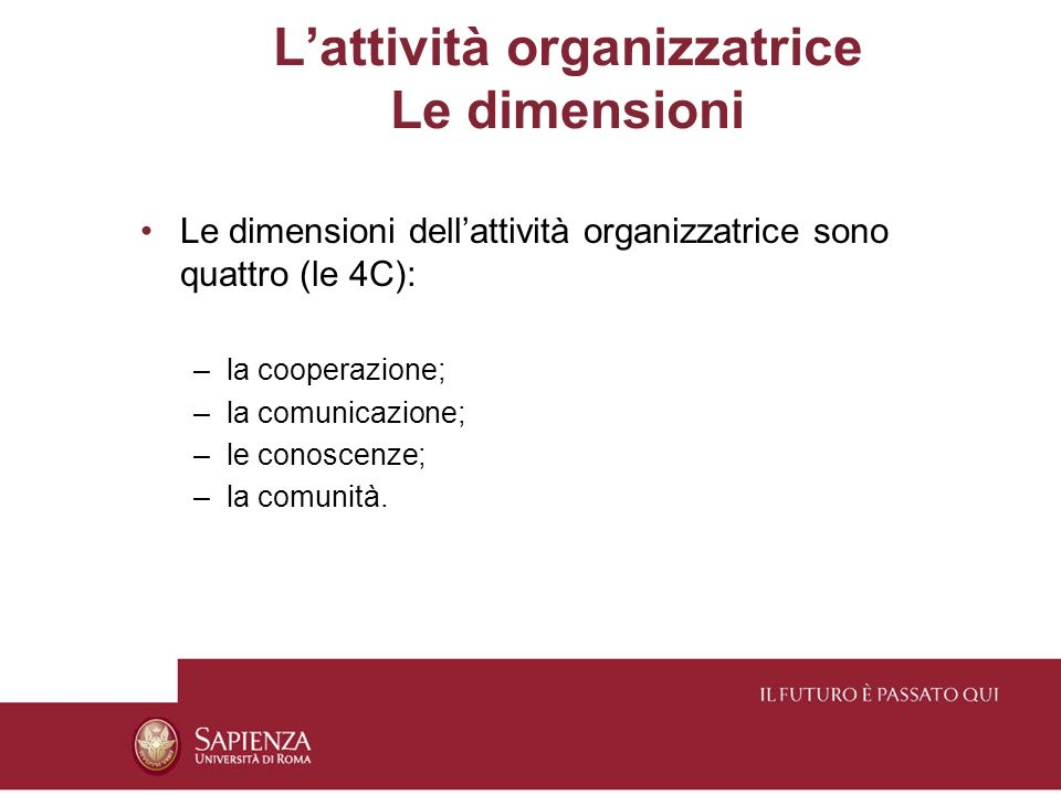 L'attività organizzatrice Le dimensioni