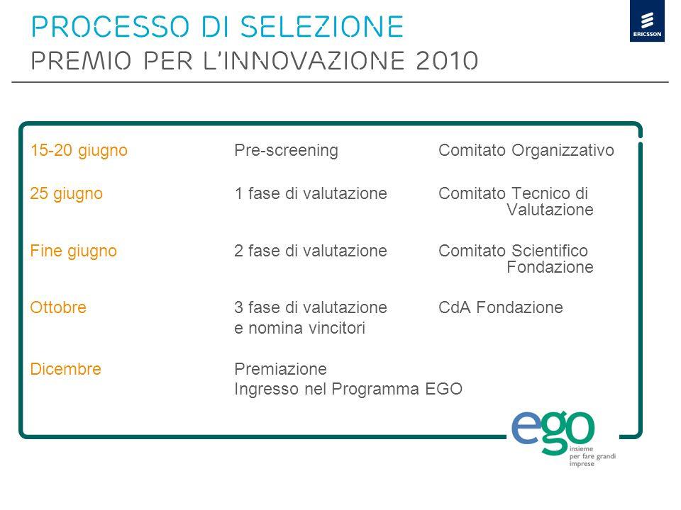 Processo di selezione PREMIO PER L'INNOVAZIONE 2010