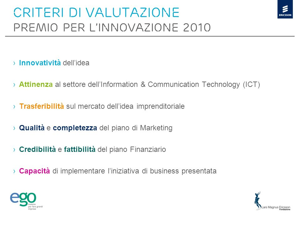 CRITERI DI VALUTAZIONE PREMIO PER L'INNOVAZIONE 2010
