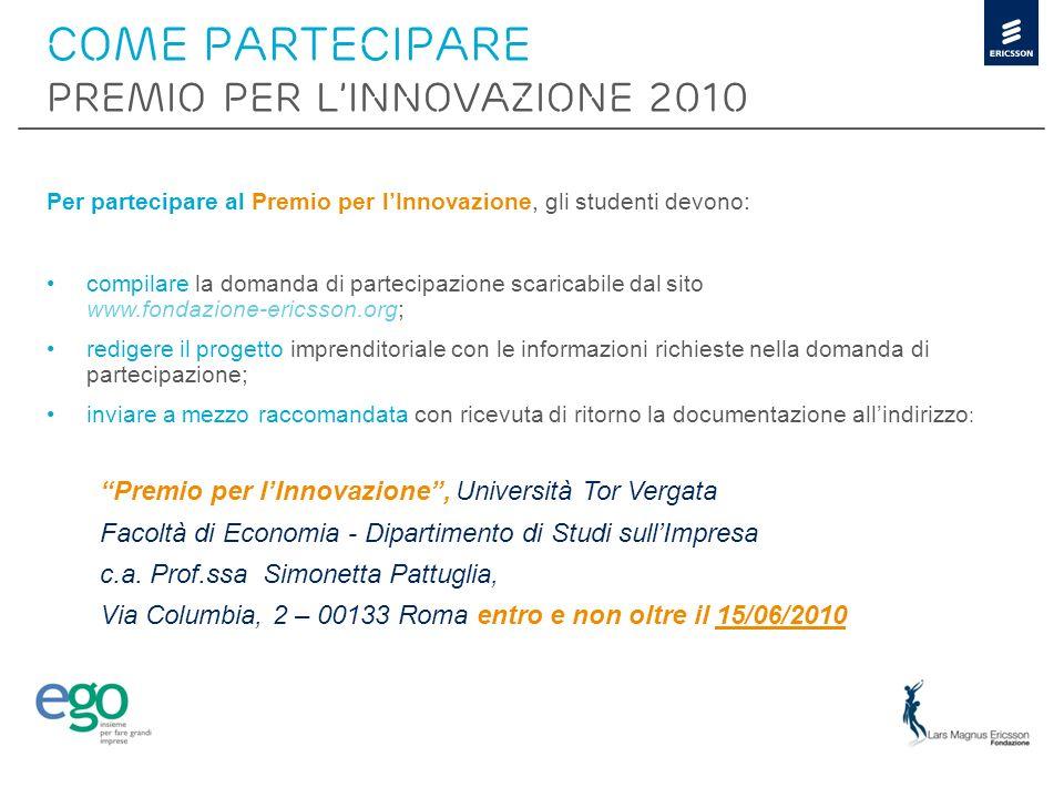 COME PARTECIPARE PREMIO PER L'INNOVAZIONE 2010