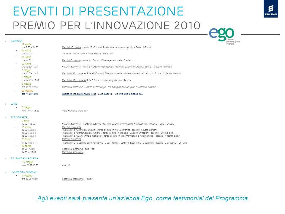EVENTI di presentazione PREMIO PER L'INNOVAZIONE 2010