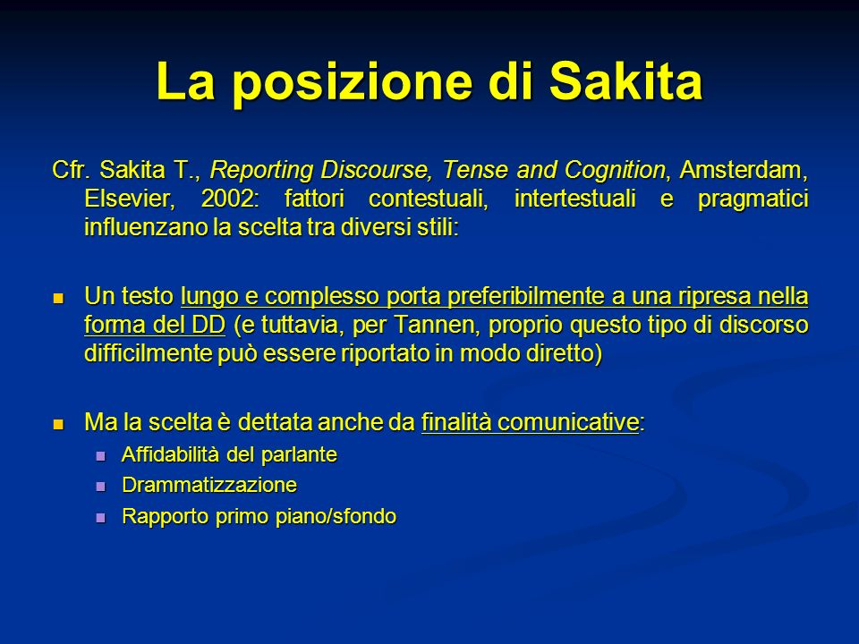 La posizione di Sakita