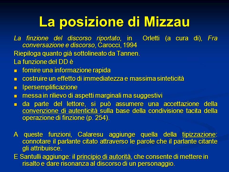 La posizione di Mizzau La finzione del discorso riportato, in Orletti (a cura di), Fra conversazione e discorso, Carocci, 1994.