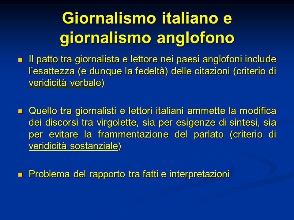 Giornalismo italiano e giornalismo anglofono