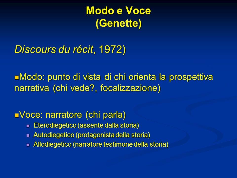 Modo e Voce (Genette) Discours du récit, 1972)