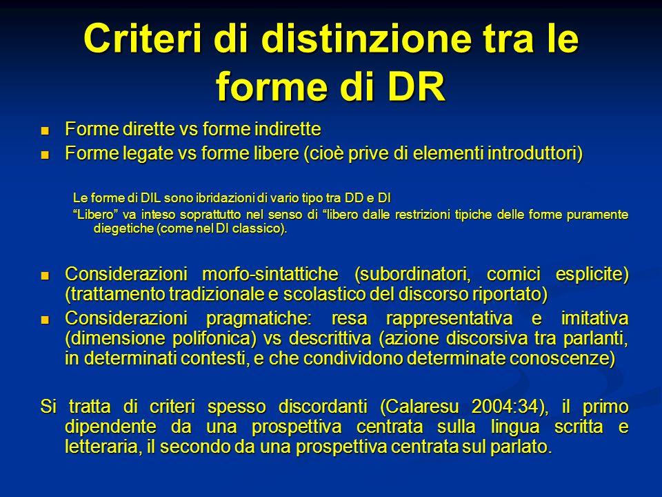 Criteri di distinzione tra le forme di DR