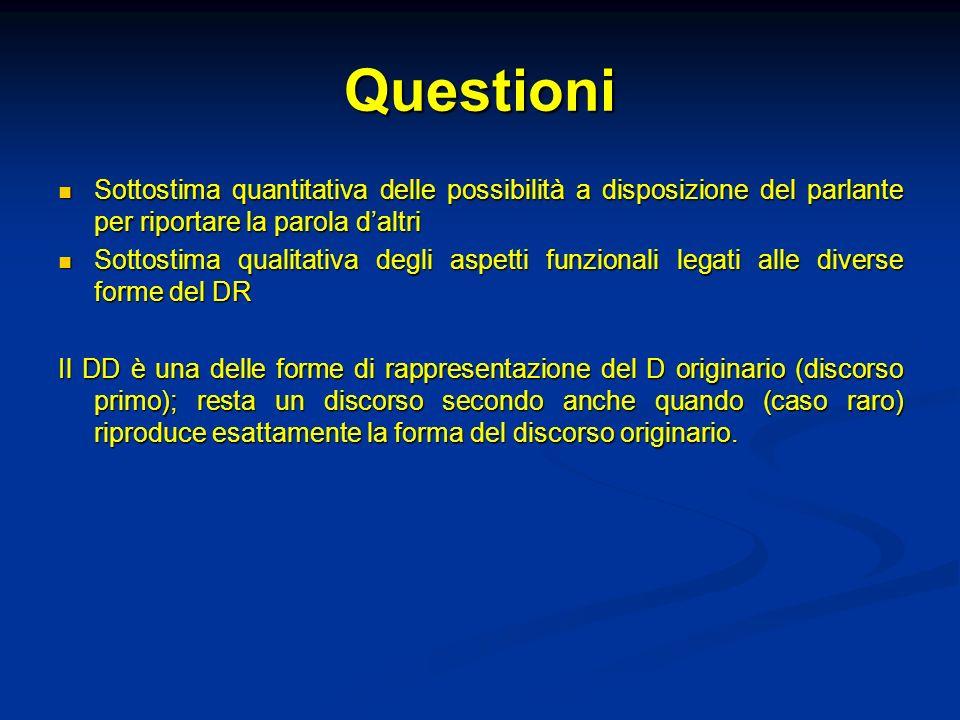 QuestioniSottostima quantitativa delle possibilità a disposizione del parlante per riportare la parola d'altri.