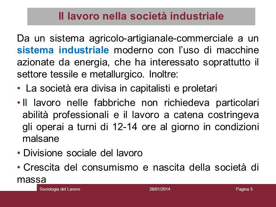 Il lavoro nella società industriale