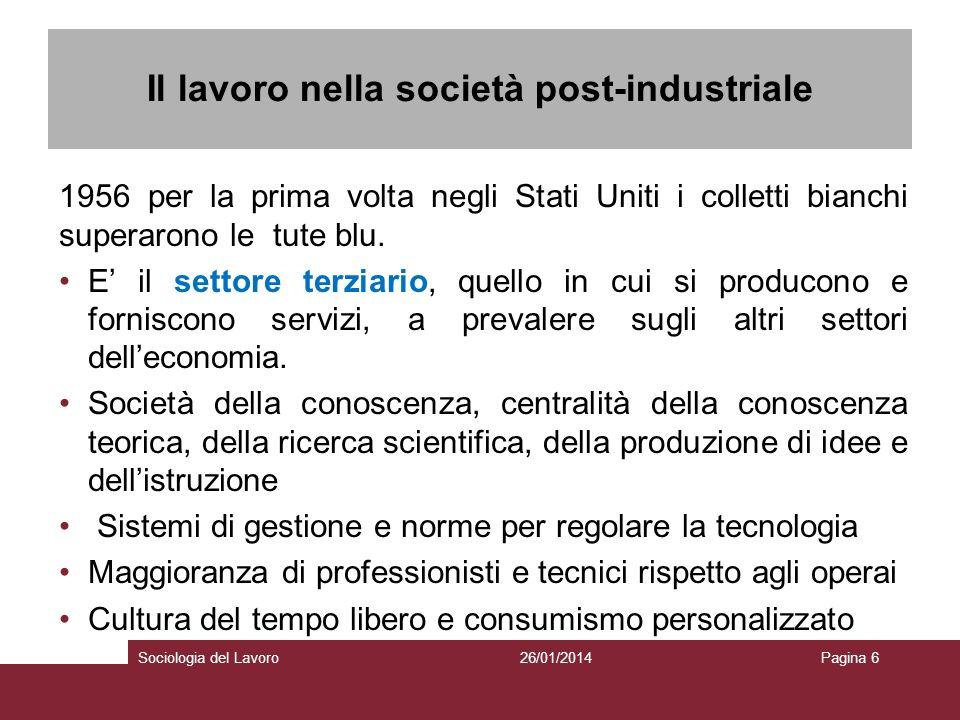 Il lavoro nella società post-industriale