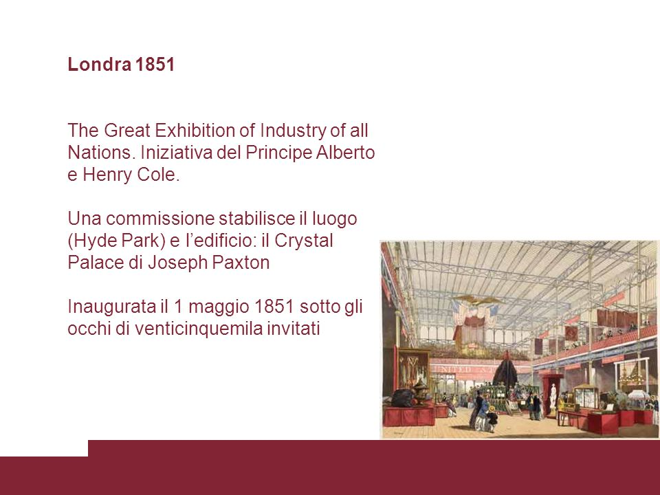 Londra 1851 The Great Exhibition of Industry of all Nations. Iniziativa del Principe Alberto e Henry Cole.