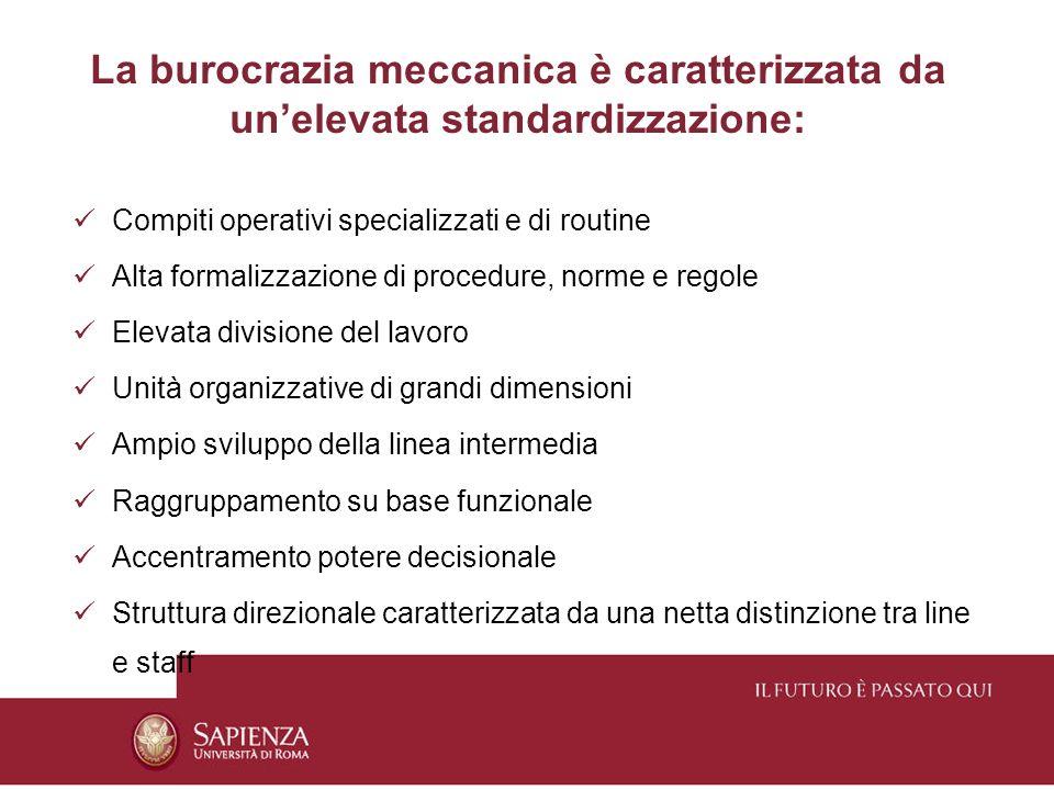 La burocrazia meccanica è caratterizzata da un'elevata standardizzazione:
