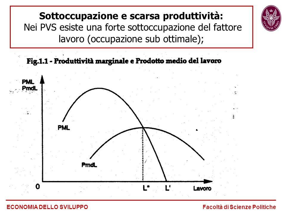 Sottoccupazione e scarsa produttività: Nei PVS esiste una forte sottoccupazione del fattore lavoro (occupazione sub ottimale);