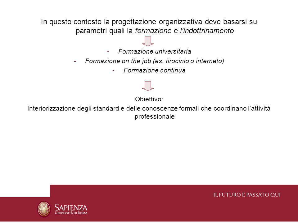 In questo contesto la progettazione organizzativa deve basarsi su parametri quali la formazione e l'indottrinamento