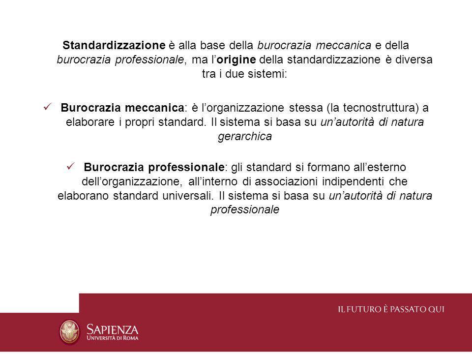 Standardizzazione è alla base della burocrazia meccanica e della burocrazia professionale, ma l'origine della standardizzazione è diversa tra i due sistemi: