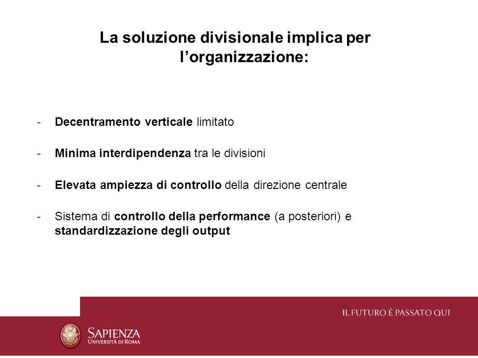 La soluzione divisionale implica per l'organizzazione: