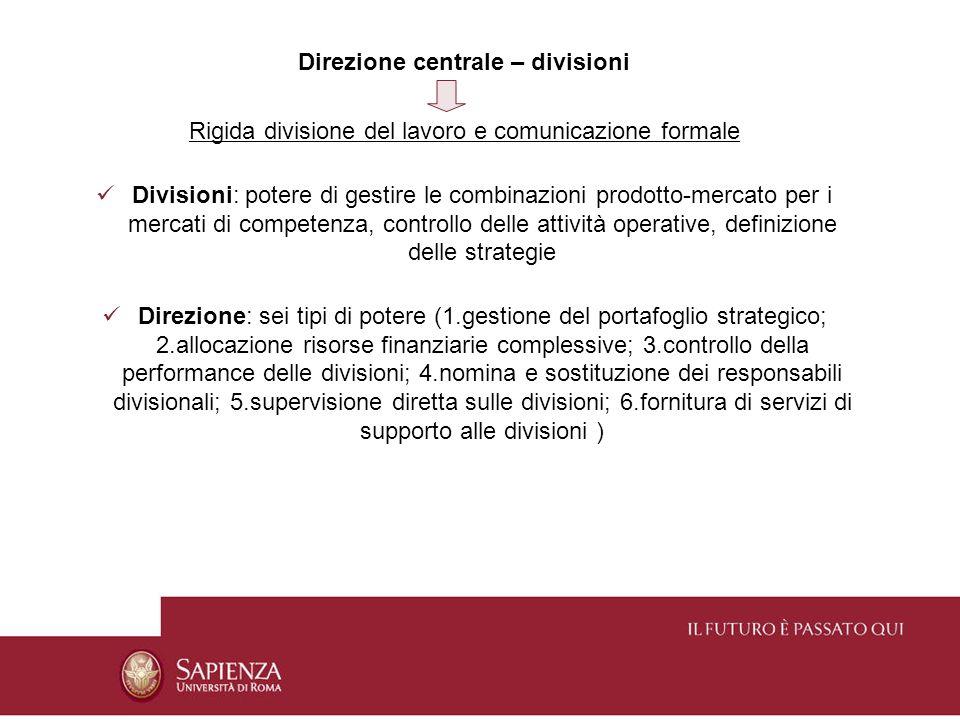 Direzione centrale – divisioni