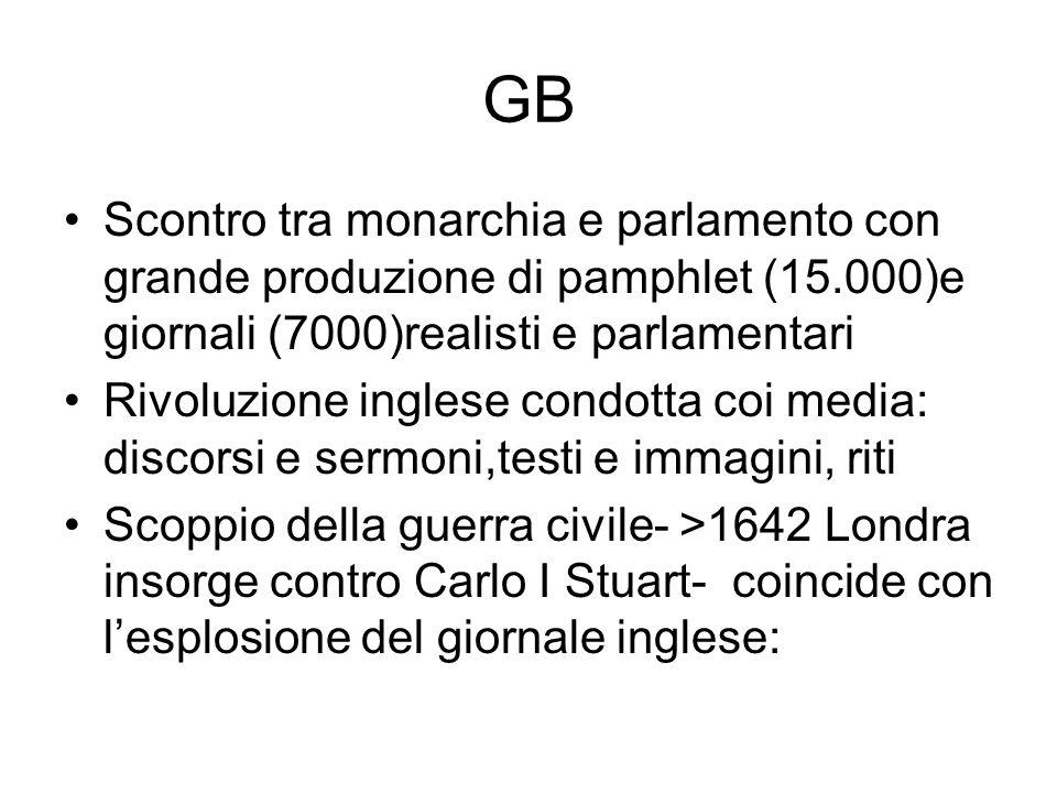 GB Scontro tra monarchia e parlamento con grande produzione di pamphlet (15.000)e giornali (7000)realisti e parlamentari.