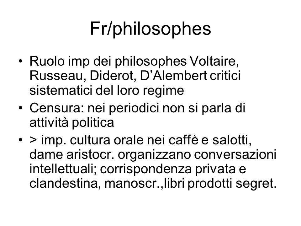 Fr/philosophes Ruolo imp dei philosophes Voltaire, Russeau, Diderot, D'Alembert critici sistematici del loro regime.