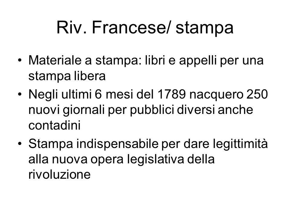 Riv. Francese/ stampa Materiale a stampa: libri e appelli per una stampa libera.