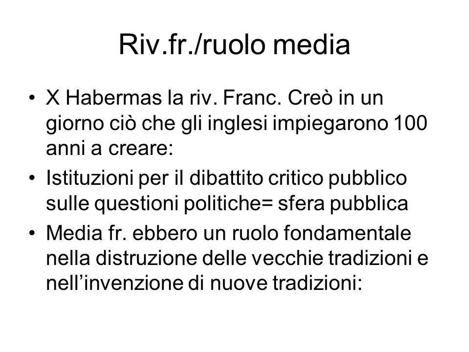 Riv.fr./ruolo media X Habermas la riv. Franc. Creò in un giorno ciò che gli inglesi impiegarono 100 anni a creare: