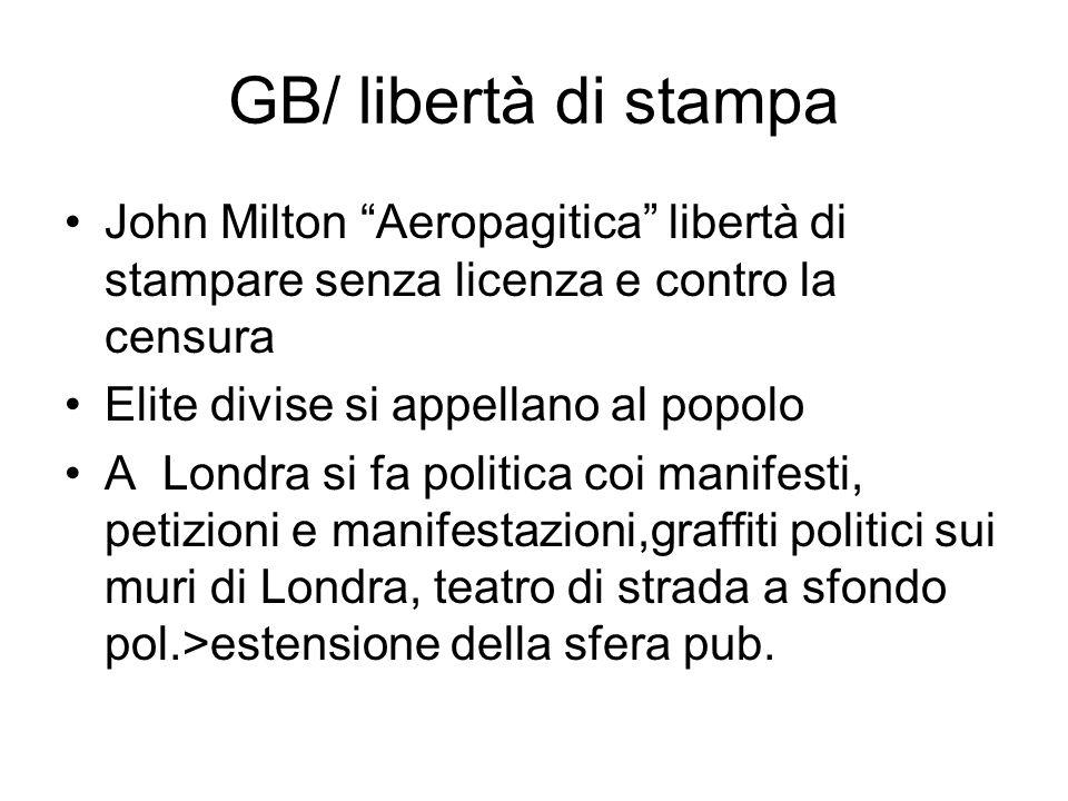 GB/ libertà di stampa John Milton Aeropagitica libertà di stampare senza licenza e contro la censura.