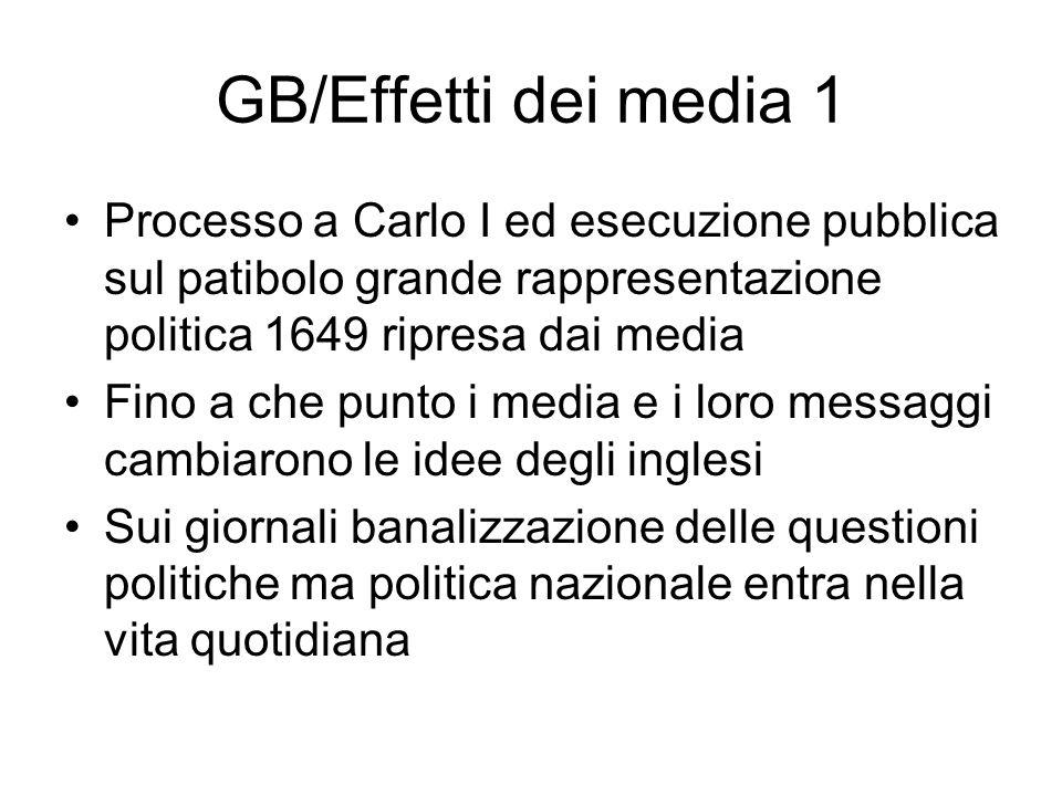 GB/Effetti dei media 1 Processo a Carlo I ed esecuzione pubblica sul patibolo grande rappresentazione politica 1649 ripresa dai media.