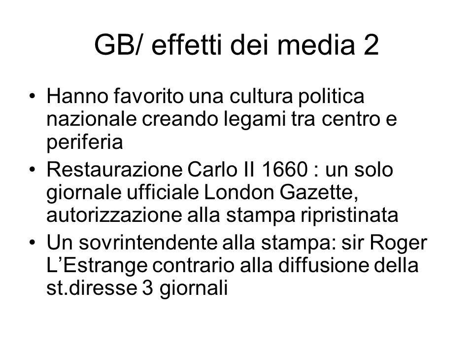 GB/ effetti dei media 2 Hanno favorito una cultura politica nazionale creando legami tra centro e periferia.