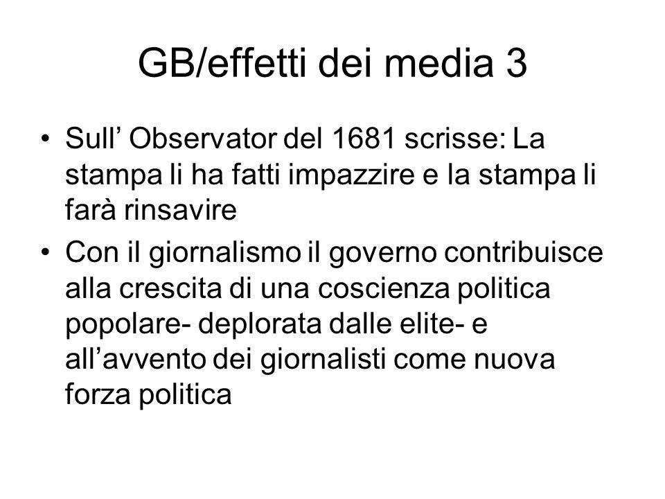 GB/effetti dei media 3 Sull' Observator del 1681 scrisse: La stampa li ha fatti impazzire e la stampa li farà rinsavire.