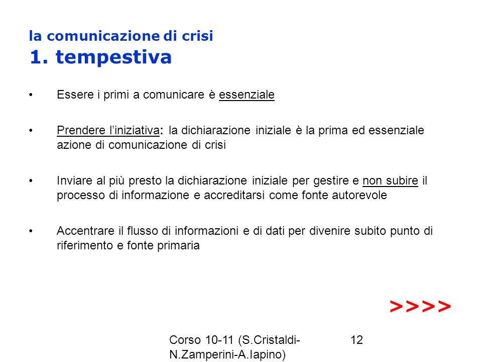 la comunicazione di crisi 1. tempestiva